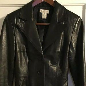 Bebe black lambskin leather jacket car coat blazer